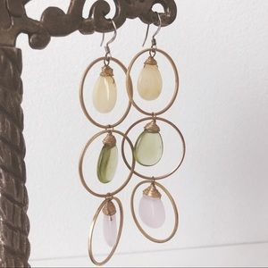 Anthropologie • Gem Stone and Gold Hoop Earrings